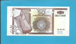 BURUNDI - 50 FRANCS - 19/05/1994 - Pick 36.a - UNC. - Série CB - Canoe / Hippopotamus - 2 Scans - Burundi