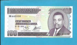 BURUNDI - 100 FRANCS - 01/05/2004 - Pick 37.e - UNC. - Série HK - Prince Rwagasore - 2 Scans - Burundi