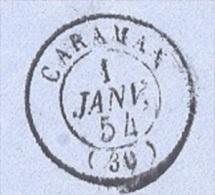 HAUTE GARONNE 31 CARAMAN  LSC  Tad 15 Du 01/01/1854 Et N° 10 Obl PC 609  TTB Tad 15 Rare Avant 07/1854 - Marcophilie (Lettres)