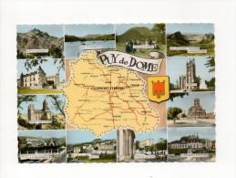 CARTE GEOGRAPHIQUE   63 DEPARTEMENT DU PUY DE DOME  MULTIVUES  GABY (multivues Couleur Dentelée) - Landkarten