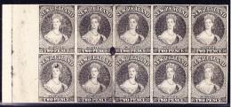 1855/84 NEW ZEALAND Chalon Head Engraved Reprint Proof Block Of 10 In Black On Thick Card Paper. - Abarten Und Kuriositäten