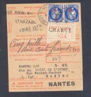Mandat De Versement à CCP Affranchi à 2 Frs (tarif Du 01/12/1939)  2 X 1fr Sur 1,75 Fr Céres 5800 Frs CHARGE Rare  TTB - Postmark Collection (Covers)