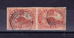 Kanada 1852 Mi 2y SG.#6 Vollrändiges Waagrechtes Paar Gestempelt Signiert - 1851-1902 Règne De Victoria