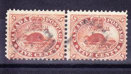 """Kanada 1859 SG.#31 Waagrechtes Paar Gestempelt """"Biber"""" Perf. 12 - 1851-1902 Règne De Victoria"""