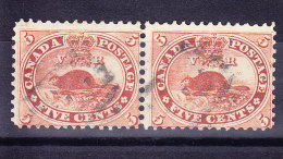 "Kanada 1859 SG.#31 Waagrechtes Paar Gestempelt ""Biber"" Perf. 12 - Gebraucht"