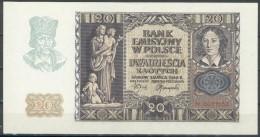 III. Reich Besetzung In Polen 20 Zloty Krakau 1. Marca 1940 Serie N Rote 7stellige Kenn Nr.0077532, I/II - Besatzungsgebiete In Deutschland