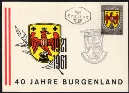 ÖSTERREICH 1961 - Wappen Burgenland - Ersttag, FDC Karte - Briefe U. Dokumente