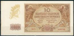 III. Reich Besetzung In Polen 10 Zloty Krakau 1. Marca 1940 Serie L Rote 7stellige Kenn Nr.4486728, II+ - Besatzungsgebiete In Deutschland