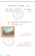 XVII GIORNATA DEL FRANCOBOLLO, CERVIA,RAVENNA, MINIFOLDER, MANIFESTAZIONE 1969. annullo speciale figurato,