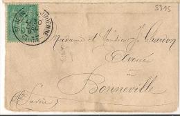 Péride Jour De L 'An, 30 Dec, Type A ST JEAN DE MAURIENNE Savoie Sur Devant Enveloppe SAGE. - 1877-1920: Periodo Semi Moderno
