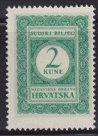 3268. WWII, Independent State Of Croatia, Court Revenue Stamp - 2 Kuna, MNH (**) - Croatie