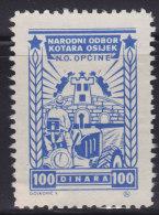 3269. Yugoslavia, Croatia, Osijek, City Revenue Stamp - 100 Din., Without Gum On The Back - Croatie