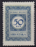 3271. WWII, Independent State Of Croatia, Court Revenue Stamp, MNH (**) - Croatie