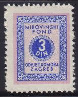 3274. Yugoslavia, Croatia, Bar Association - Superannuation Fund Revenue, MNH (**) - Croatie