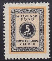3275. Yugoslavia, Croatia, Bar Association - Superannuation Fund Revenue, MNH (**) - Croatie