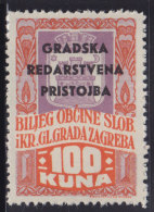3277. WWII, Independent State Of Croatia, Zagreb, City Revenue Stamp - 100 Kuna, MNH (**) - Croatie