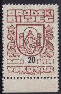 3278. Yugoslavia, Croatia, Vukovar, City Revenue Stamp - 20 Din, MNH (**) - Croatie