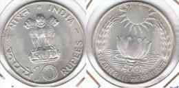 INDIA 10 RUPIA RUPEE 1970 COMIDA PARA TODOS  PLATA SILVER F1 - India