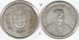SUIZA HELVETIA 5 FRANC 1931 PLATA SILVER. G1 - Suiza
