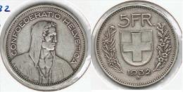 SUIZA HELVETIA 5 FRANC 1932 PLATA SILVER. G1 - Suiza