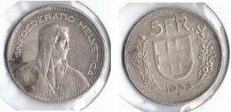 SUIZA HELVETIA 5 FRANC 1933 PLATA SILVER. G1 - Suiza