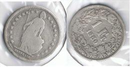 SUIZA HELVETIA FRANC 1880 PLATA SILVER G1 - Suiza
