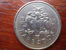 BARBADOS  1990  TWENTY FIVE CENTS  USED COIN In GOOD Condition. - Barbados