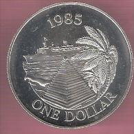BERMUDA 1 DOLLAR 1985 ZILVER UNC BERMUDA BUTTERY CRUISESHIP - Bermudes