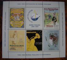 Erinnophilie, Bloc Feuillet Centenaire Rhône-Poulenc 1895-1995, 6 Vignettes - Erinnophilie
