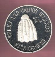 TURKS & CAICOS 5 CROWNS 1976 ZILVER PROOF TURKS CACTUS VERY SMALL MINTAGE - Turks En Caicoseilanden