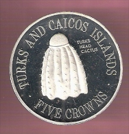 TURKS & CAICOS 5 CROWNS 1976 ZILVER PROOF TURKS CACTUS VERY SMALL MINTAGE - Turks & Caicos (Îles)