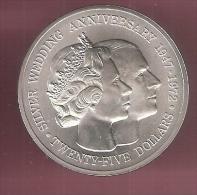 CAYMAN ISLANDS 25 DOLLARS 1972 SILVER UNC SILVER WEDDING ANN. 1947-1972 - Iles Caïmans