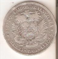 MONEDA DE PLATA DE VENEZUELA DEL AÑO 1904 DE BOLIVAR - 25 GRAMOS Y LEI 900  (COIN) SILVER,ARGENT. - Venezuela