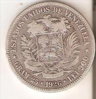 MONEDA DE PLATA DE VENEZUELA DEL AÑO 1926 DE BOLIVAR - 25 GRAMOS Y LEI 900  (COIN) SILVER,ARGENT. - Venezuela