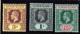 Cayman Islands 1913 Erst Ausgabe Auf Rücks. Weissem Papier Alle 3 Werte 3d 1S 10S  SG.#45a 48a + 52a Alle * - Iles Caïmans