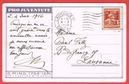 Lausanne Gare Exp. 1917 Sur Carte Pro-Jventute  Timbre Y.T.N°153 - Pro Juventute