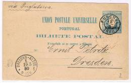 Madeira, 1880, Bilhete Postal Funchal-Dresden - Madeira