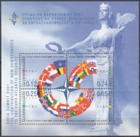 BULGARIA 2001, NATO, SUMMIT In SOFIA, SCULPTURE WOMAN, FLAGS, BIRD, MNH BLOCK, GOOD QUALITY, *** - Unused Stamps