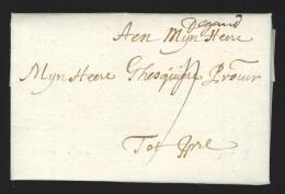 """Pr�philat�lie - lettre 1704 avec manuscrit """"de Gand"""" + """"4"""" pour Ypre - TTB"""