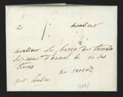 """Pr�philat�lie - lettre dat�e de St-Verijs ? 1782 port """"I"""" pour Vervoz """"par Bonsin"""""""