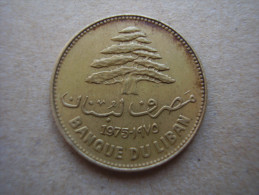 LEBANON 1975 TWENTY FIVE PIASTRES Nickel-brass  USED COIN. - Lebanon
