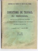 COMPAGNIE DES TRAMWAYS DE NICE ET DU LITTORAL-CONDITIONS DE TRAVAIL DU PERSONNEL AVRIL 1924     60 PAGES