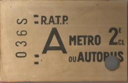 Original Ticket Metro Ou Autobus En Bois ,36.5 X 19 , 2 E Classe , Au Verso ; Plan Double ,  3 Scans ,  Frais Fr : 4.50€ - Europe