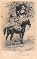 [DC4664] CARTOLINA - ILLUSTRATA - CAVALLO - LE COUP DE L'ETRIER - Viaggiata 1902 - Old Postcard - Cavalli