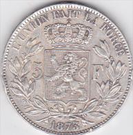 BELGIQUE . 5 FRANCS 1873. LEOPOLD II .position A .ARGENT - 1865-1909: Leopold II