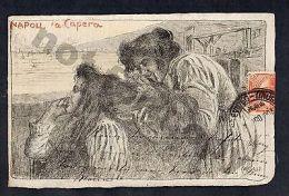 ITALY ARTIST SIGNED BASILIO CASCELLA NAPOLI CAPRERA Original Postcard Hairdreser - Illustrateurs & Photographes