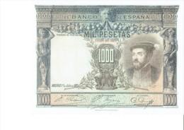 SPAIN 1925 - REPLICA - REPRODUCCION  - CARLOS V - PORTADA ALCAZAR TOLEDO BILL OF 1000 PTAS ISSUED JUL 1,1925 RE 71 2 PE - [ 8] Ficticios & Especimenes