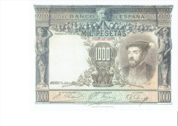 SPAIN 1925 - REPLICA - REPRODUCCION  - CARLOS V - PORTADA ALCAZAR TOLEDO BILL OF 1000 PTAS ISSUED JUL 1,1925 RE 71 2 PE - [ 8] Fakes & Specimens