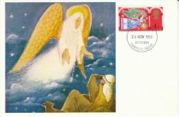 Great Britain Sc#605-606-607, Christmas Issue, Religion, 1969 First Day Of Issue On Postcard - 1952-1971 Dezimalausgaben (Vorläufer)
