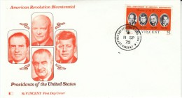 St. Vincent US Bicentennial US Presidents, Nixon Kennedy Eisenhower Johnson $1 Issue Sc#443 FDC First Day Of Issue Cover - St.Vincent (1979-...)